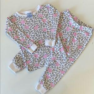 B.Steps Cheetah Print With Hearts 2 Piece Pajamas